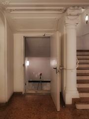 "Theatre Survey or Kafka ""The Castle"" Theater Vermessung oder Kafka ""Das Schloss"" - Stairway to mezzanine gallery boxes, Fire Door, Cellar Steps Stiege Balkon Galerie Rang Logen, Brandschutztüre, Keller Treppe"
