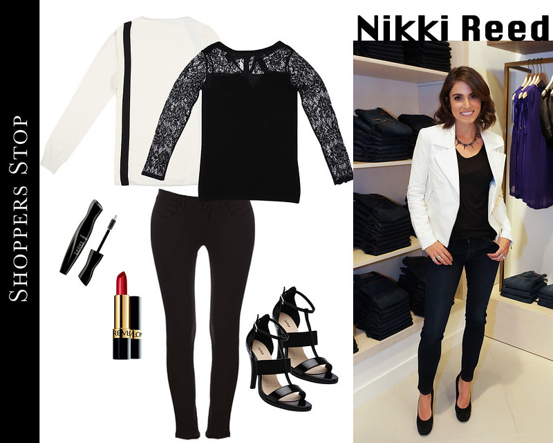 Nikki reed twilight star celebrity style for less shopper stop black and white red lipstick revlon lace top sexy formal