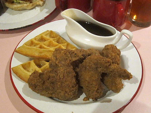 Crispy Coated Buttermilk Dipped Wings and Waffle