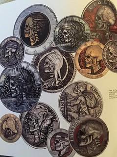 Pablo Curcio skull coin carvings