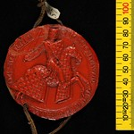 The seal of John de Warenne, first lord of Bromfield and Yale – he started work on the castle soon after 1282. © National Archives, London