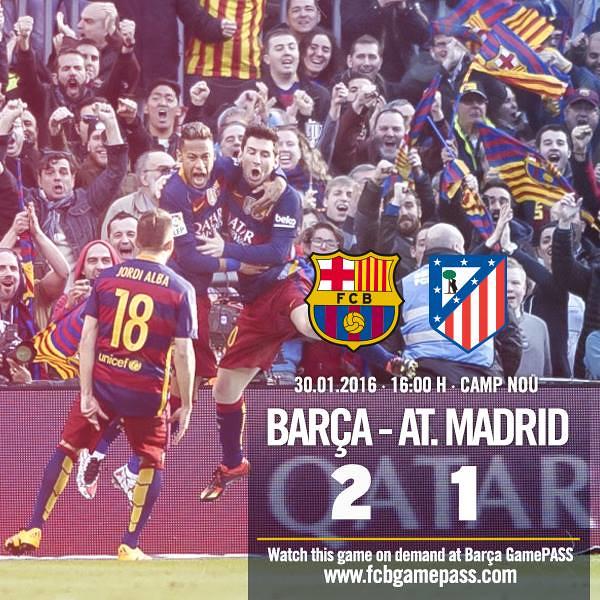 Liga BBVA (Jornada 22): FC Barcelona 2 - Atlético de Madrid 1