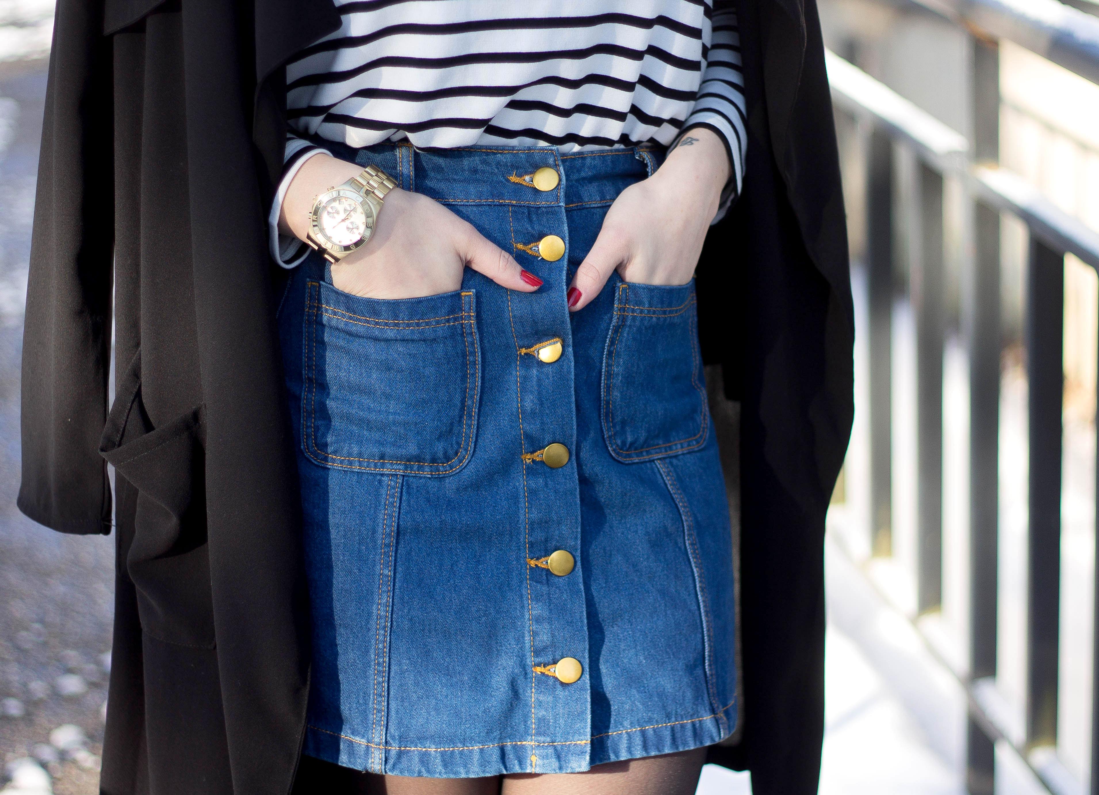 denim skirt outfit blog