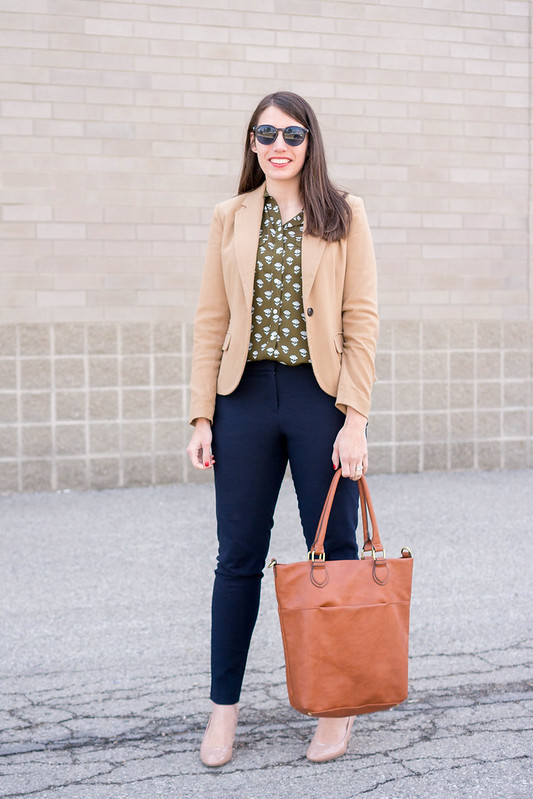 tan blazer + Loft utility blouse + navy ankle pants + Target cognac tote | Style On Target