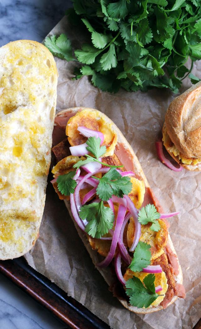 Vegetarian Chipotle Tofu, Plantain, and Refried Bean Tortas
