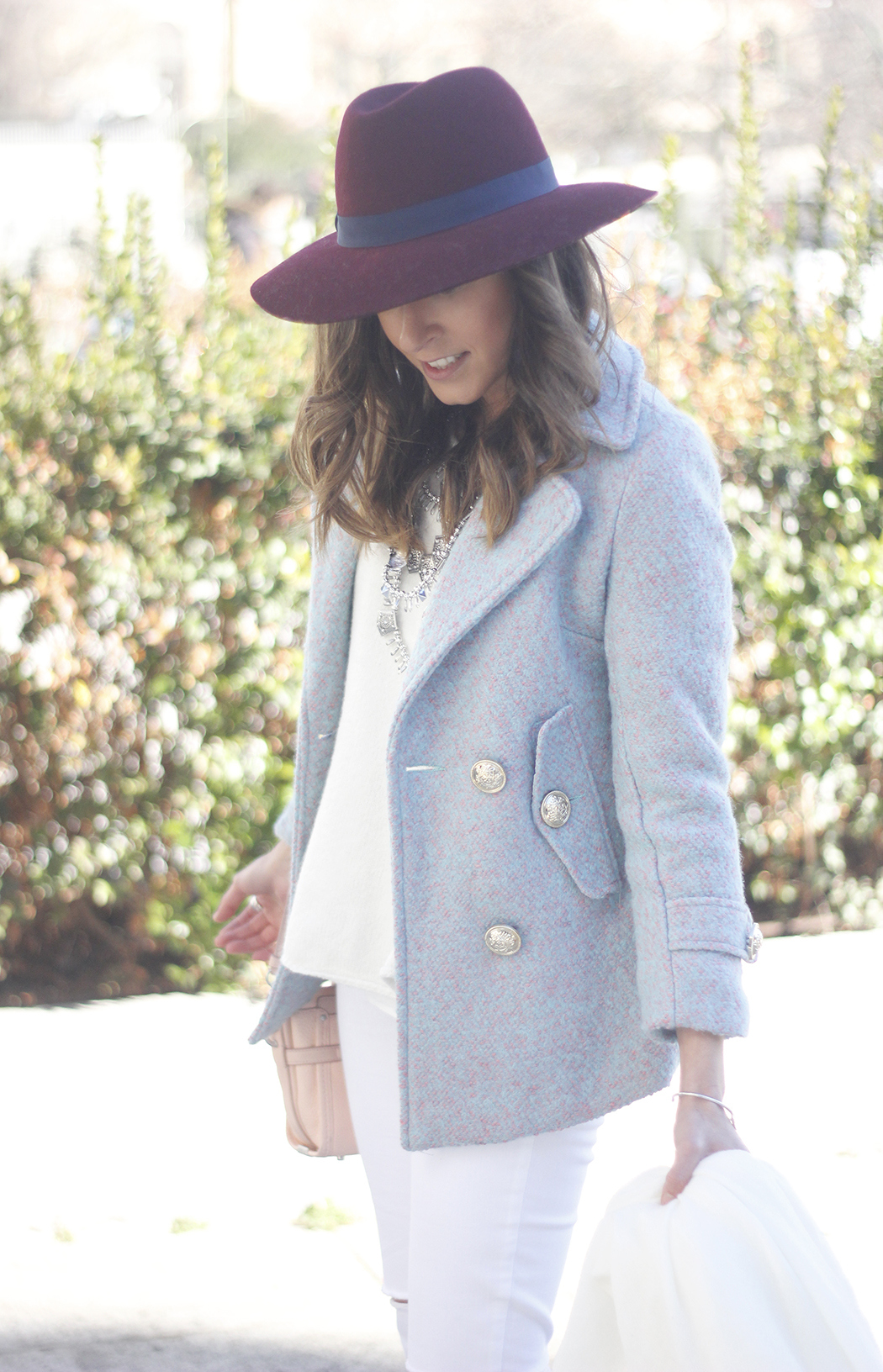 Blue Coat White outfit burgundy hat pink bag coach accessories style11