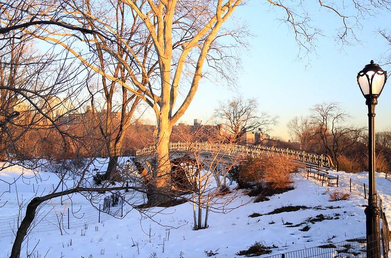central park sunrise snow
