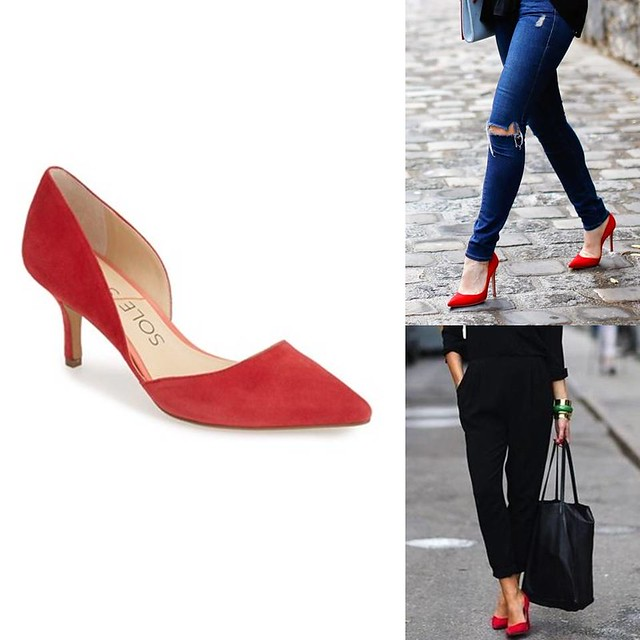 how to wear red suede heels