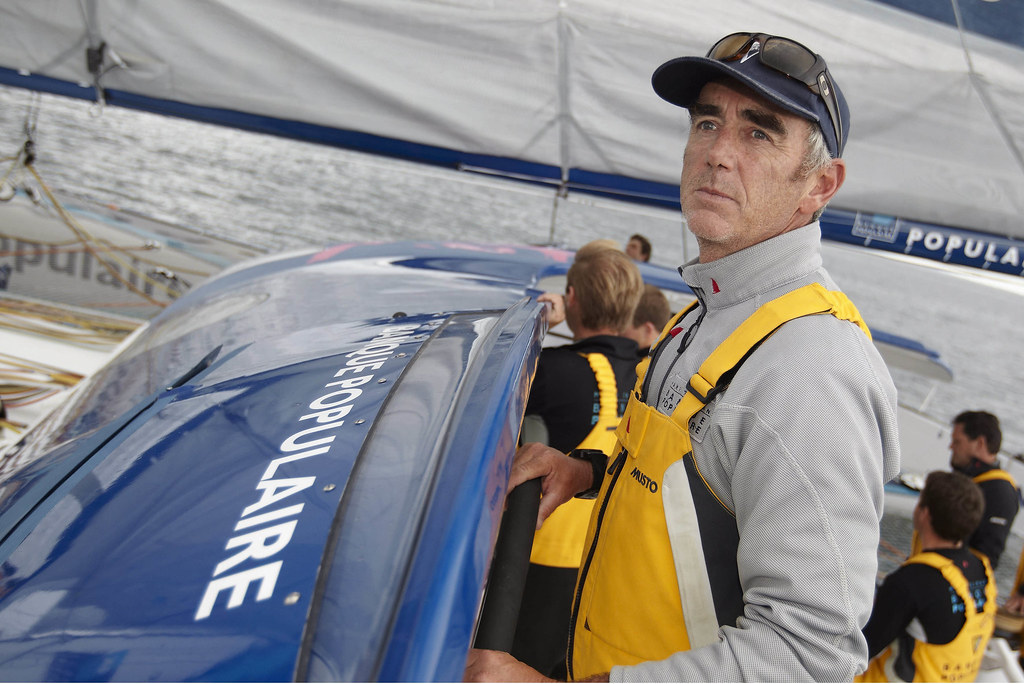 Loick Peyron a la barre du Maxi Banque Populaire V Preparation Trophee Jules Verne 2011 2012  ©B.STICHELBAUT-BPCE