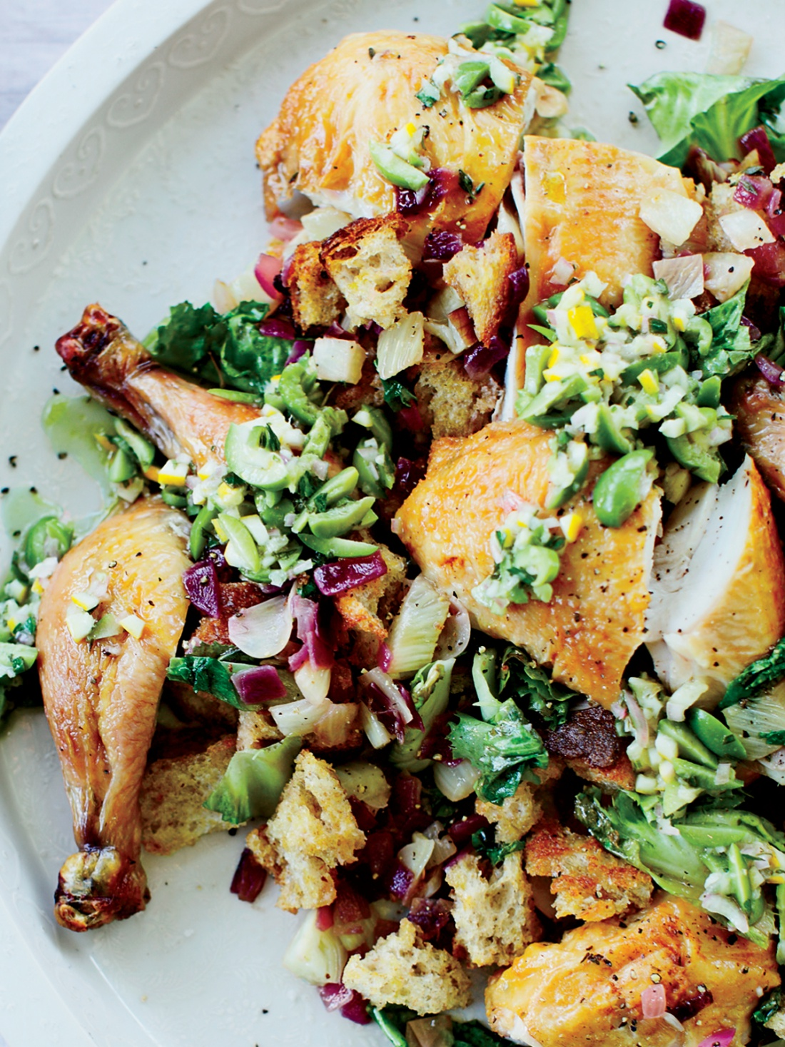 easy chicken recipes - Roast Chicken with Fennel Panzanella