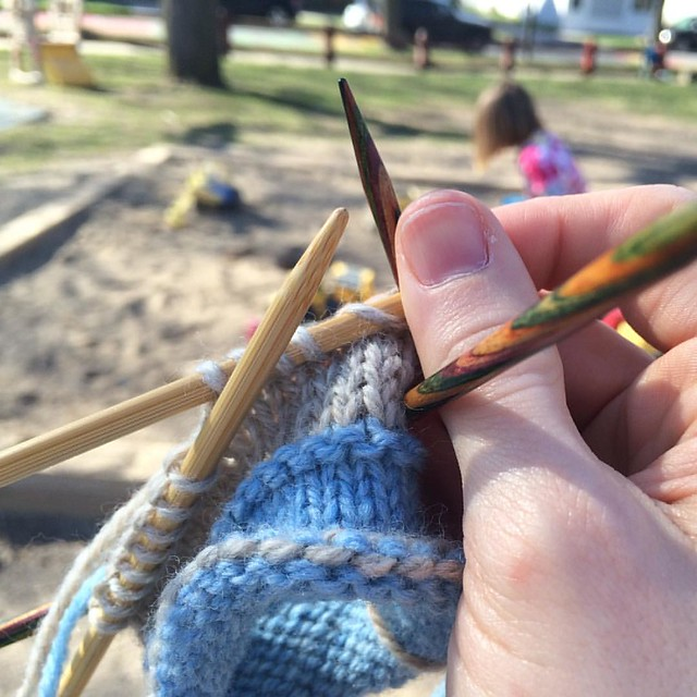 Knitting a sleeve at the playground - FINALLY it is warm enough!!