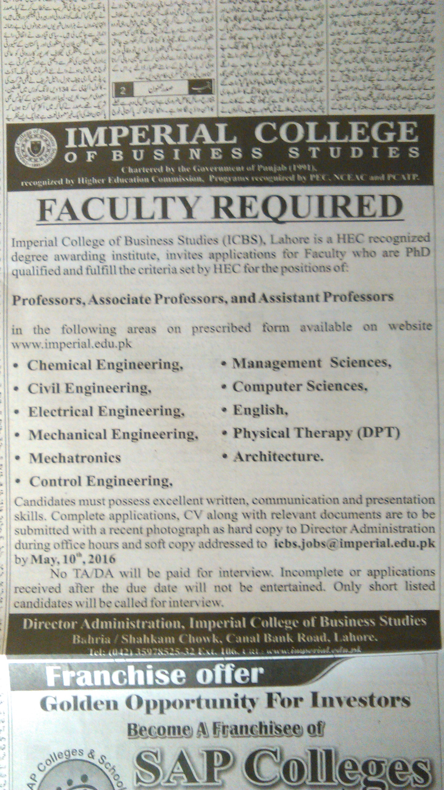 Imperial College of Bussiness Studies Lahore Faculty Required