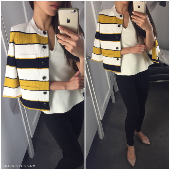 ann taylor chanel style yellow navy sweater jacket