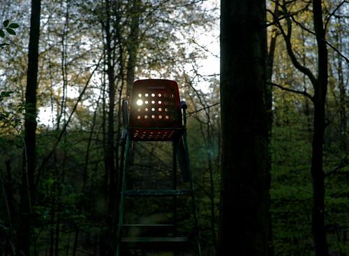 seat hochsitz darmstadt wood forest sunrise plastic tree sun red dot