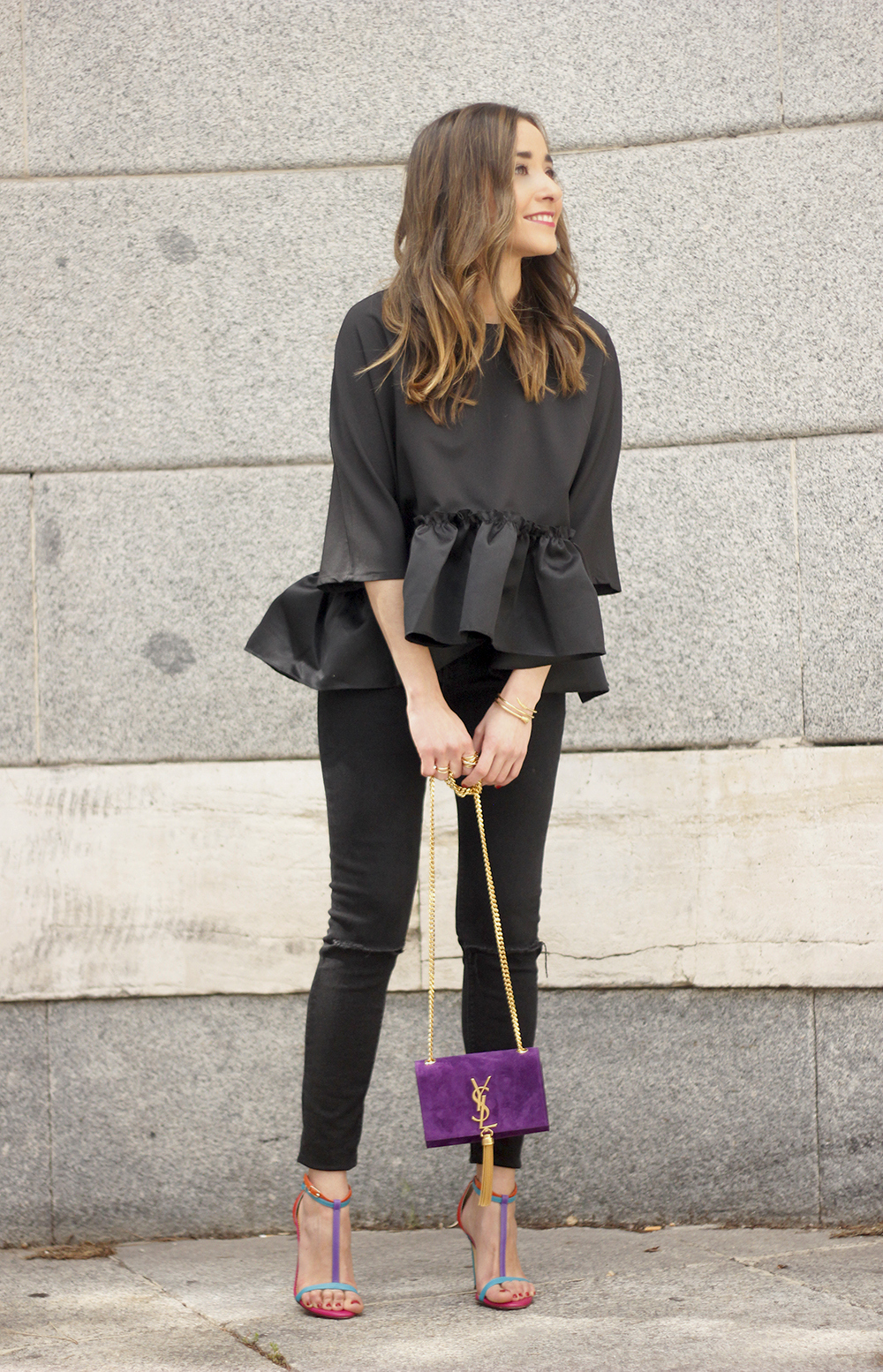 black top with a ruffle Carolina Herrera Sandals YSL bag accessories outfit style14