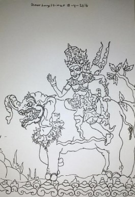 damar langit timur dewa indra 25x20cm drawing pen on paper 2016