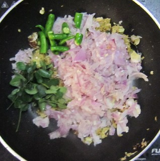 Chicken biriyani steps 7 Add onion and leaves