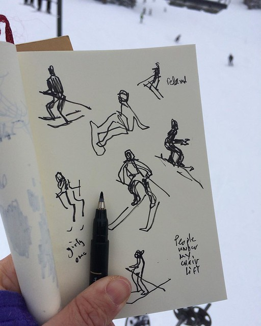 People under my chairlift #skiing #sketching #sketchingwhileskiing #sketchbook #chairlift