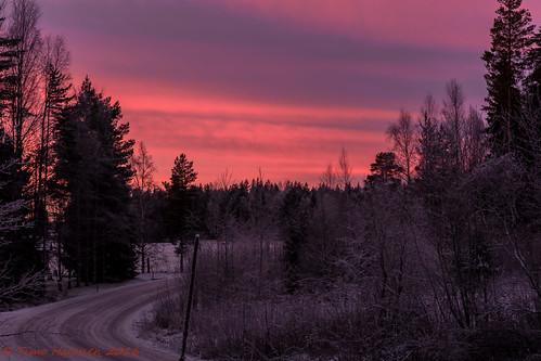 pink winter sky finland talvi pilvet auringonlasku taivas laihia nikondx ostrobothnia eteläpohjanmaa d5200 isokylä