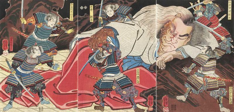 Utagawa Kuniyoshi - Minamoto no Yorimitsu and his Retainers Attacking the Drunken Monster Shuten-doji, 19th C
