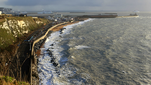 The ongoing repairs to the sea wall at Shakespeare Cliffe, Dover