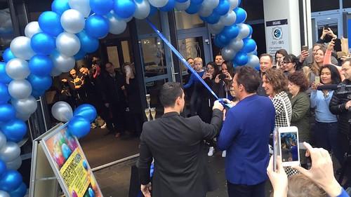 100mm Blauw Lint met Wit bedrukt. Opening Healthcity Amstelveen door Gerard Joling
