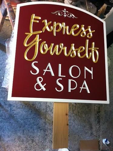 Salon Spa Sign Gold Leaf Incised Lettering
