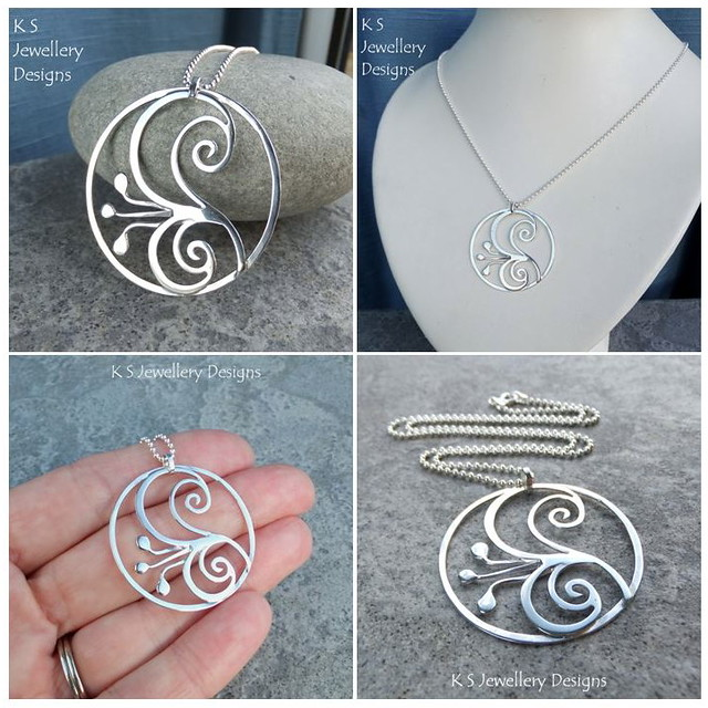 Lily Swirl Circle - Sterling Silver Wire Flower Pendant