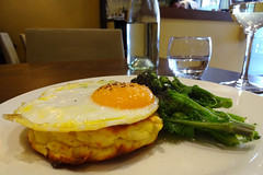 Potato cake, sprouting broccoli, and fried duck egg at Lamberts, Balham, London SW12