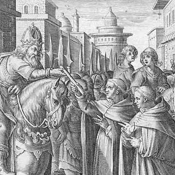 The monks give the silkworms to the emperor Justinian