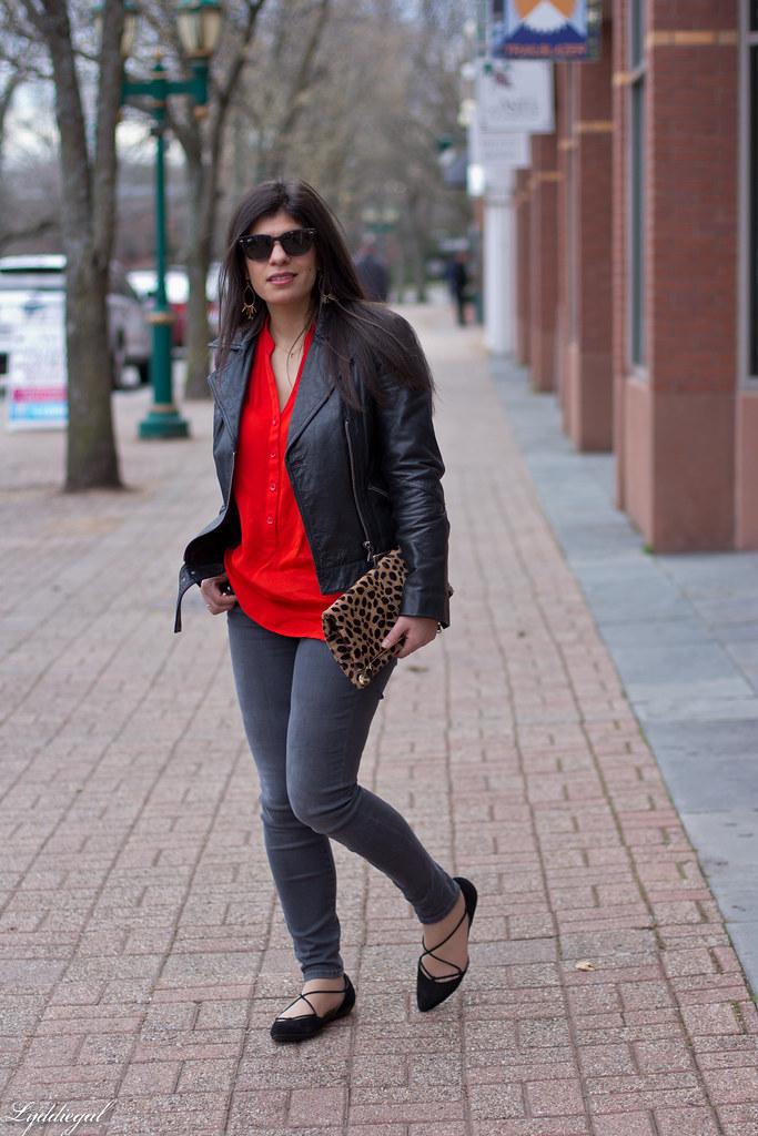 grey jeans, red blouse, black leather jacket, leopard clutch-2.jpg