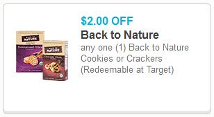 Back to Nature Cookies or Crackers Coupon