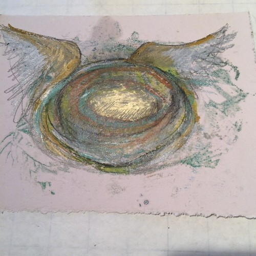 Winged things showing up in the studio #newdirections. #art #artbizcontent #encausticmonotype