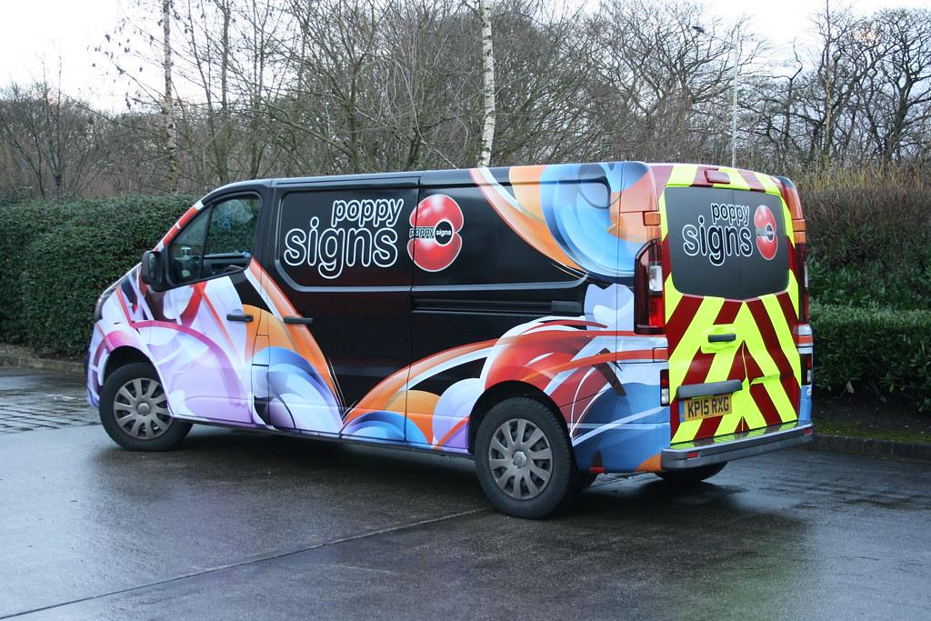 Full van wrap, mix of digital print, cut vinyl, reflective and fluorescent vinyl
