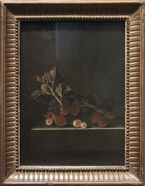 A Spring of Gooseberries on a Stone Plinth, Adriaen Coorte, 1699