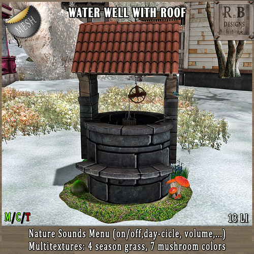 NEW RELEASE!!! *RnB* Water Well w Roof - Nature Sounds Menu & Multitextures (copy)