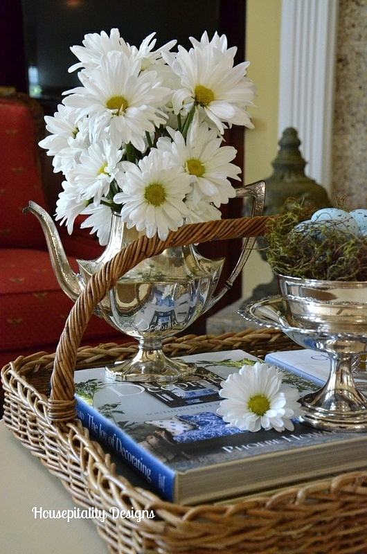 Spring Vignette of Silver and Daisies - Housepitality Designs