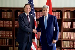U.S. Secretary of State John Kerry shakes hands with Netherlands Bert Koenders before a bilateral meeting on February 13, 2016, at the Bayerischer Hof Hotel in Munich, Germany, on the sidelines of the Munich Security Conference. [State Department photo/ Public Domain]
