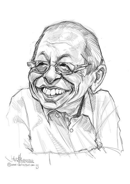 林吉祥 Lim Kit Siang digital caricature painting - sketch