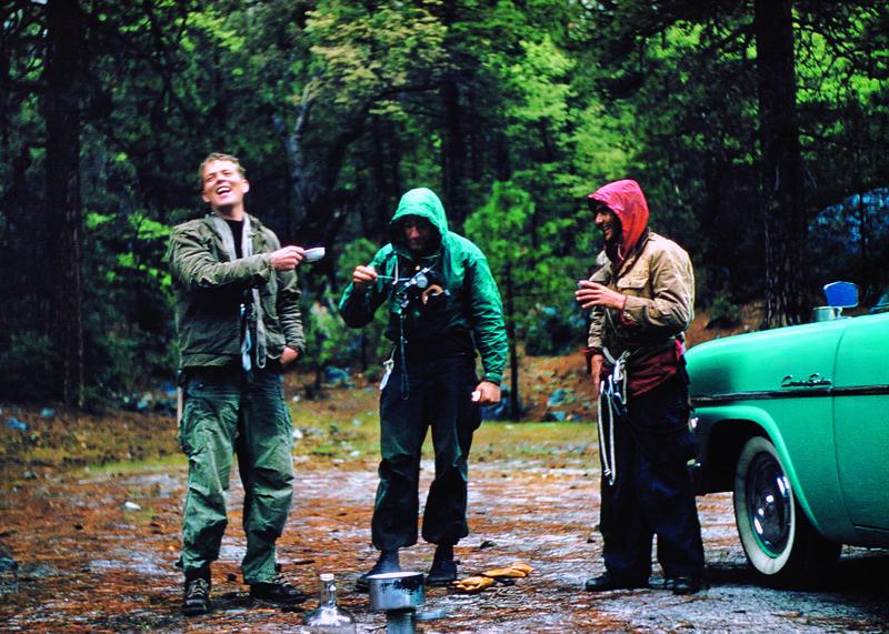 Mark Powell, Dolt, and Warren Harding (circa 1957) hitting the cheap jug after a rainy exploratory on El Capitan. Photo: Beverly Powell Woolsey