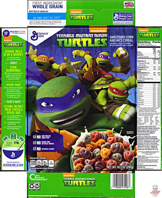 "General Mills :: Nickelodeon ""TEENAGE MUTANT NINJA TURTLES"" CEREAL i (( 2016 ))"