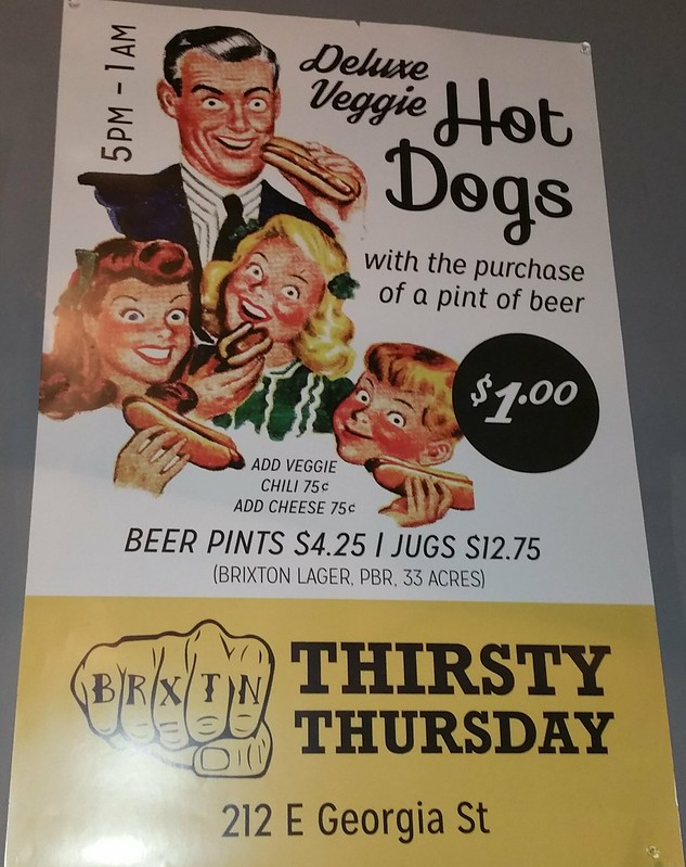 2016-Mar-25 Caffe Brixton - thirsty thursday hot dog and beer special