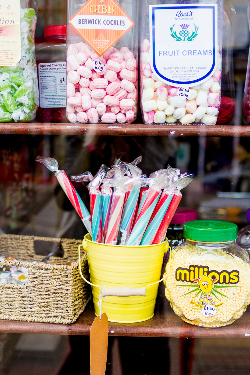 sugar boy sweet shop window jars sticks of rock in bucket