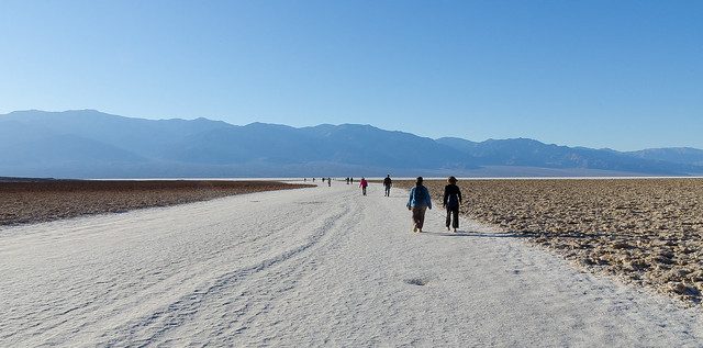 Salt road. Badwater Basin at sunset