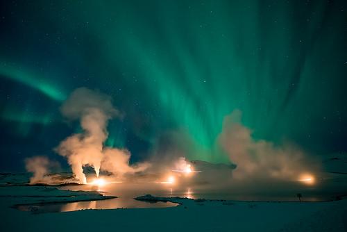 Géothermie et aurore boréale à Myvatn - Islande