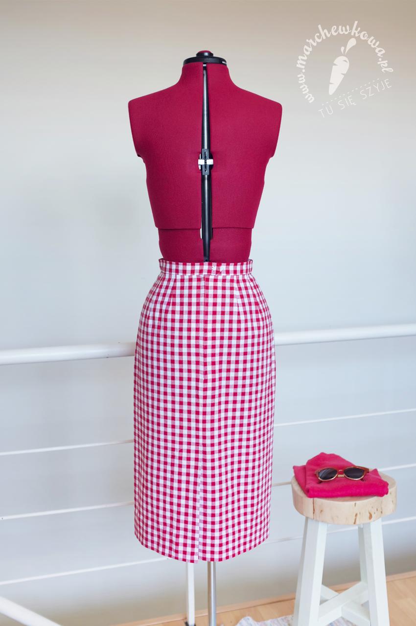 marchewkowa, wrocław, krawiectwo, szycie, moda retro, spódnica ołówkowa, kratka, vichy, sewing, pencil skirt, Burda 7/1961, vintage fashion