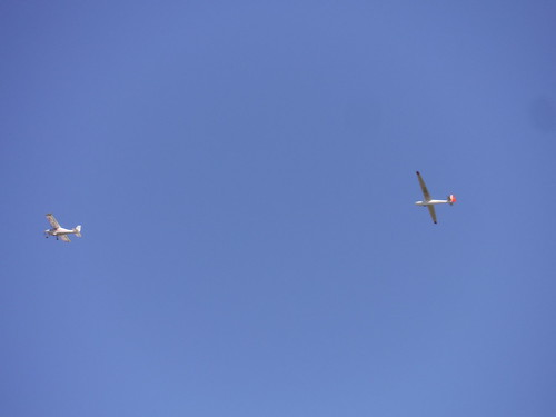 Glider being launched from Haddenham airfield