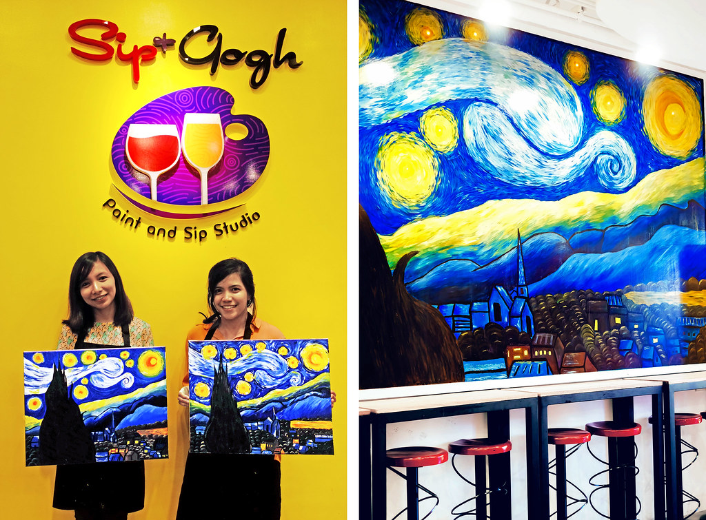 Sundae Scoops goes to Sip and Gogh kapitolyo final acrylic painting of Starry Night by Vincent Van Gogh