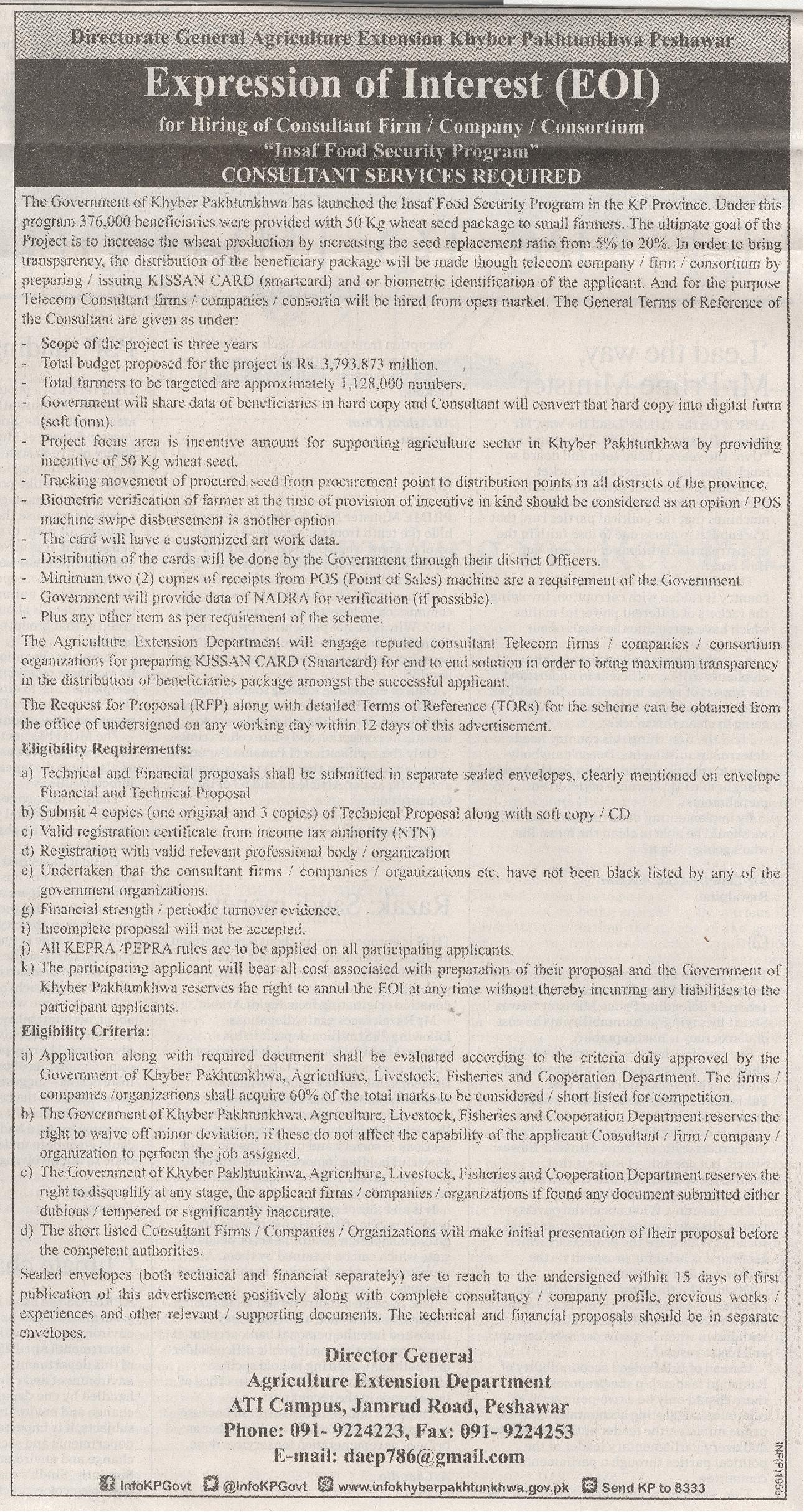 Directorate General Agriculture Extension Khyber Pakhtunkhwa Jobs 2016