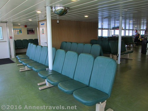 Inside the cabin of the ferry